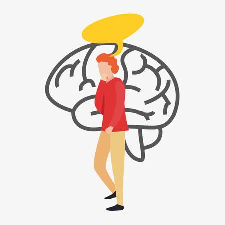 trivia night man thinking brain vector illustration Stock Vector - 124675509
