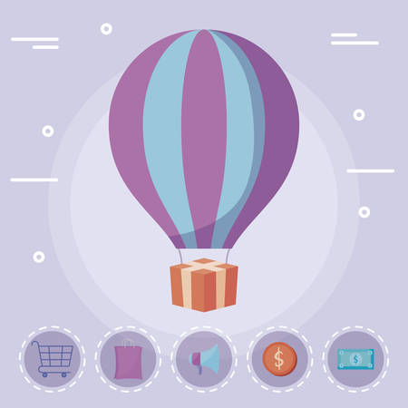 balloon air hot with gift and commercial icons vector illustration design
