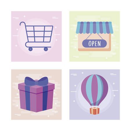 gift box present with commercial icons vector illustration design