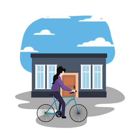 woman with bicycle in front of the house vector illustration Ilustração