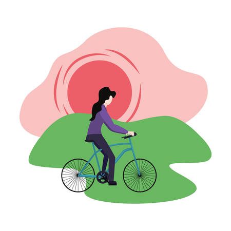 young woman riding bicycle activity vector illustration