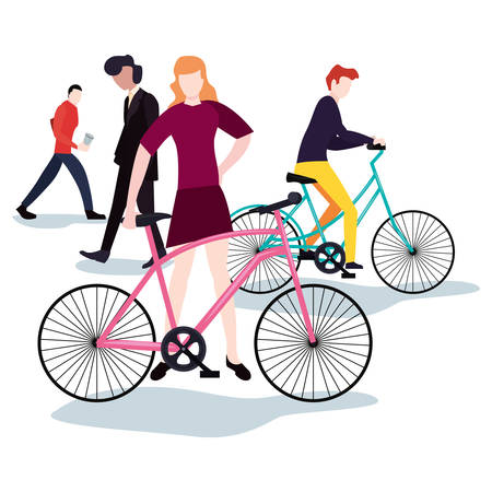 people with bikes and walking activities vector illustration