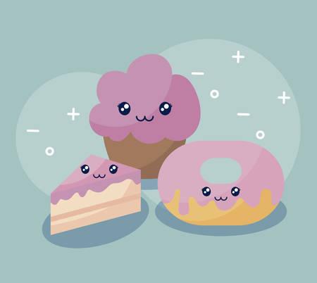 bakery pastry kawaii character vector illustration design