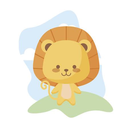 cute lion animal in landscape vector illustration design
