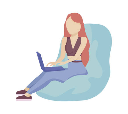young woman with laptop computer vector illustration design