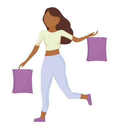 woman with shopping bags isolated icon vector illustration design