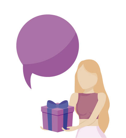 young woman with gift box and speech bubble vector illustration design