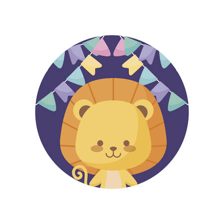 cute lion animal with garlands hanging vector illustration design Vectores