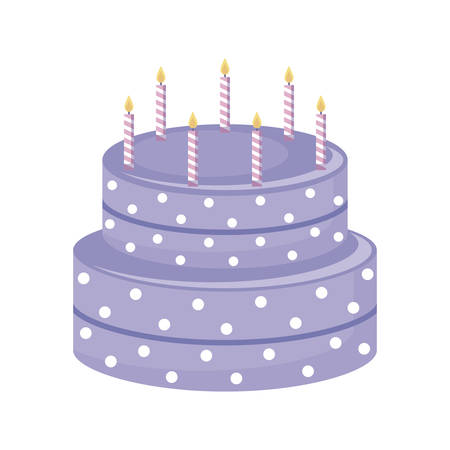 sweet cake with candles isolated icon vector illustration design Çizim
