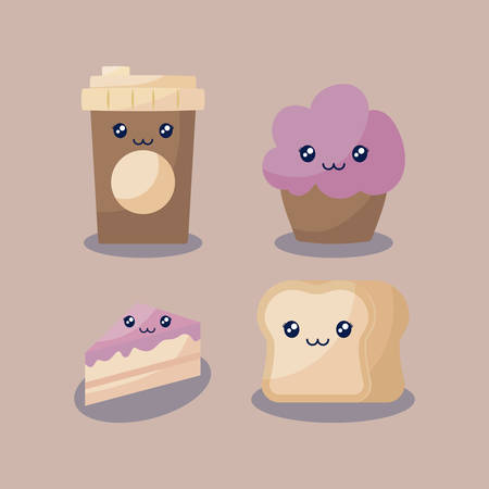 set bakery pastry kawaii character vector illustration design