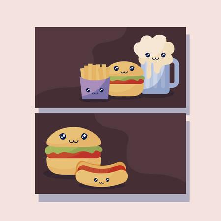 set of delicious hamburger and fast food kawaii character vector illustration design