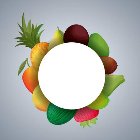 frame circular with fresh fruits vector illustration design