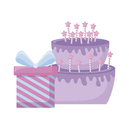 gift box present with delicious cake vector illustration design  イラスト・ベクター素材