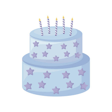 sweet cake with candles isolated icon vector illustration design