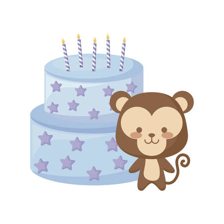 cute monkey animal with cake birthday vector illustration design