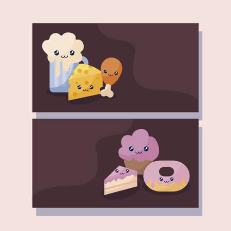 set of bakery pastry kawaii character vector illustration design