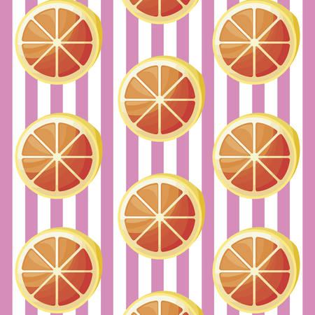 pattern of sliced oranges fruits vector illustration design