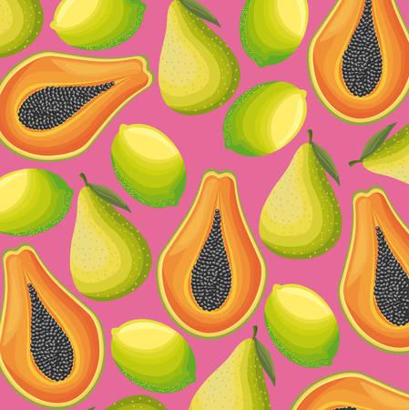 pattern of papaya with lemon and pear vector illustration design Illustration