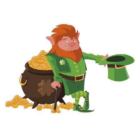 Saint Patrick Lemprechaun mit Schatzkessel-Vektor-Illustration-Design Vektorgrafik