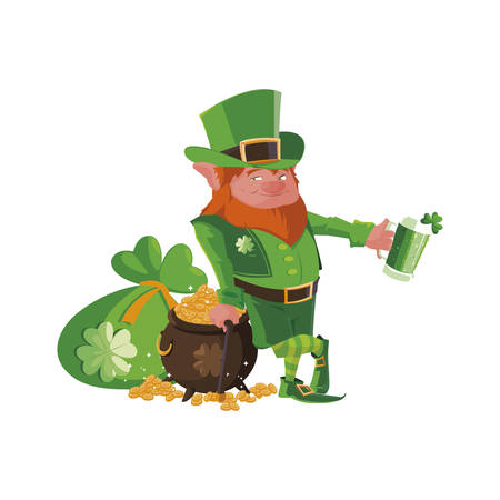 saint patrick lemprechaun with beer character vector illustration design
