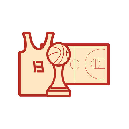 basketball tank top sport jersey trophy court floor vector illustration Stock Vector - 124466218