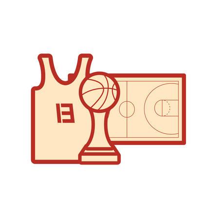 basketball tank top sport jersey trophy court floor vector illustration