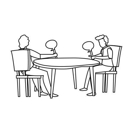 men playing trivia with speech bubble vector illustration