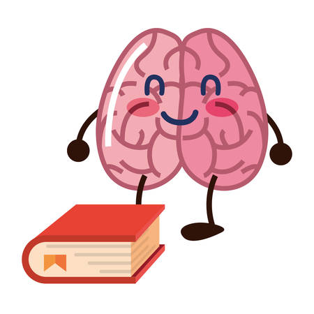 brain cartoon education book school vector illustration Çizim