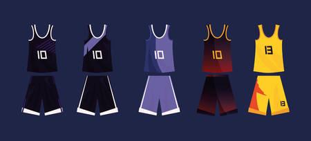 basketball uniform sport jersey shorts set vector illustration
