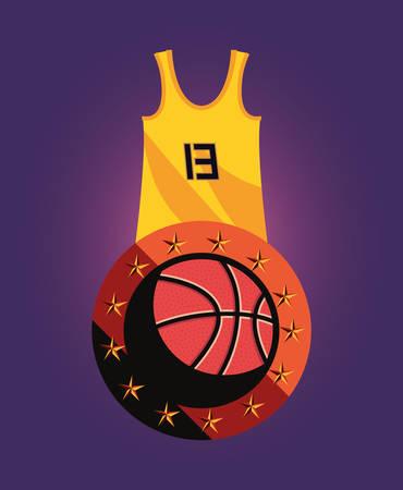 basketball ball tank top sport jersey vector illustration