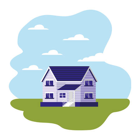 house with steps in the landscape vector illustration