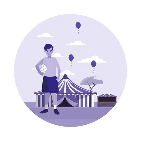 young boy in the circus amusement vector illustration