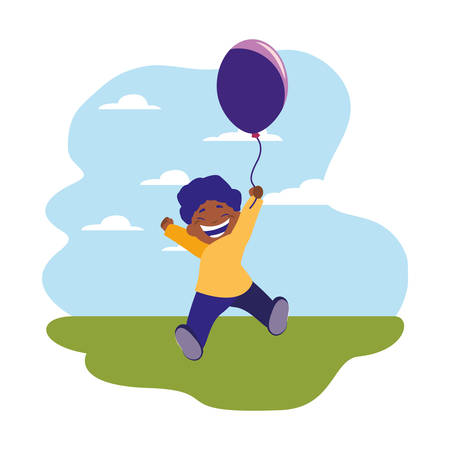 happy boy holding balloon in the outdoors vector illustration