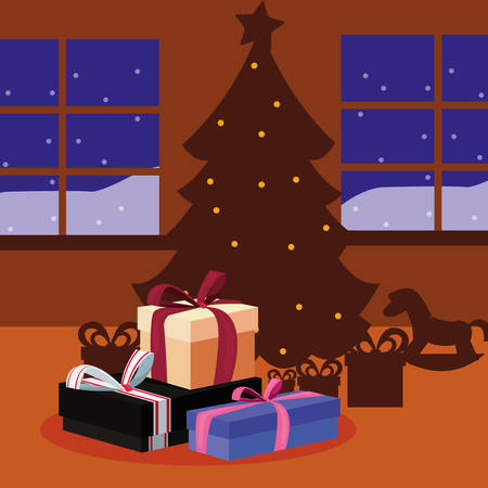 christmas tree and gift boxes in the house vector illustration Illustration