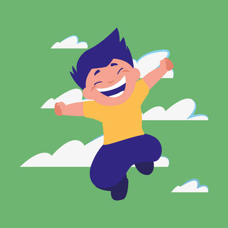 happy boy jumping clouds background vector illustration Vettoriali
