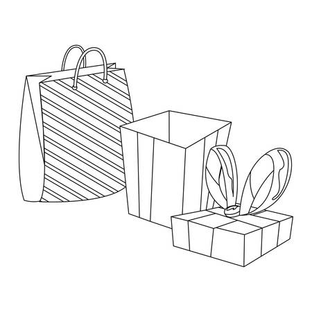 gift box and bag on white background vector illustration