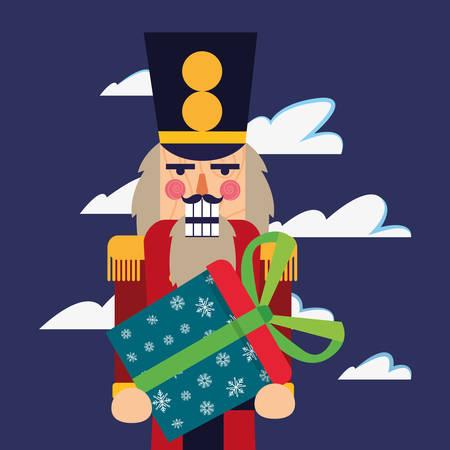 christmas nutcracker holding gift box vector illustration Illustration