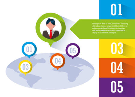 businessman with infographic and planet earth vector illustration design