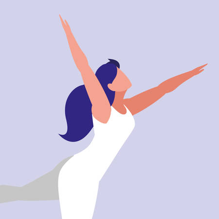 young woman fitness dancing vector illustration design