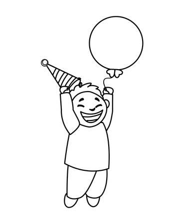cute happy boy with birthday balloons helium vector illustration design
