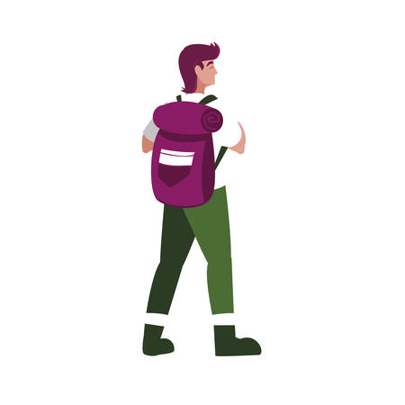 adventurous man with travelbag vector illustration design