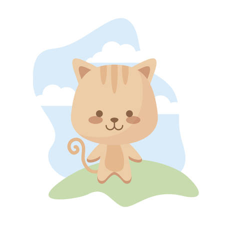 cute cat animal in landscape vector illustration design  イラスト・ベクター素材