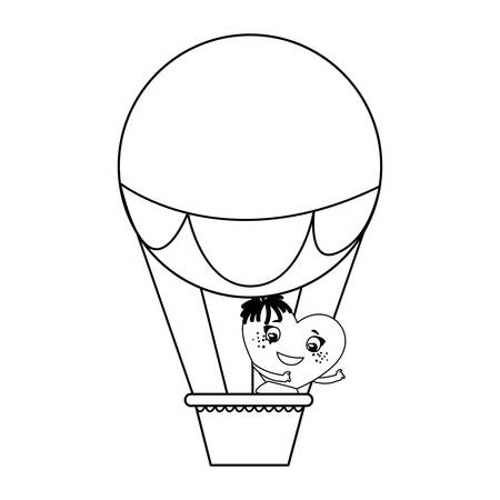 female heart in balloon air hot character vector illustration design  イラスト・ベクター素材