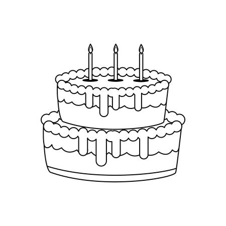 sweet cake birthday with candles vector illustration design