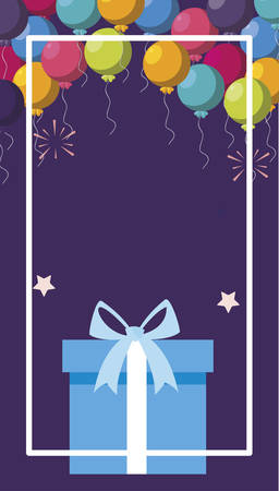 gift box present with balloons helium frame vector illustration design