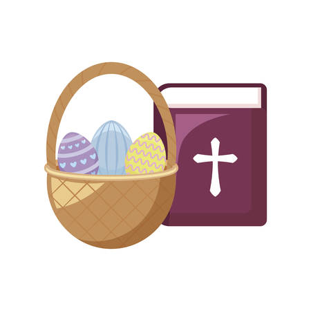 eggs of easter with basket wicker and holy bible vector illustration design