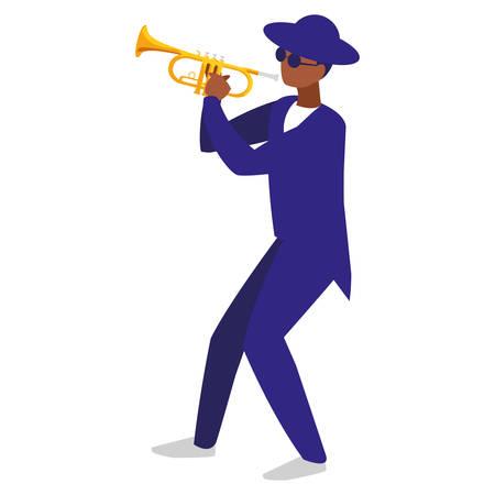 Musicien noir jazz avec chapeau et lunettes jouant de la trompette vector illustration design Vecteurs