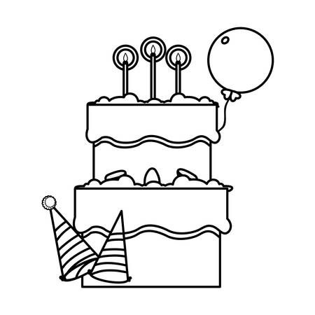 sweet cake birthday with party hats vector illustration design