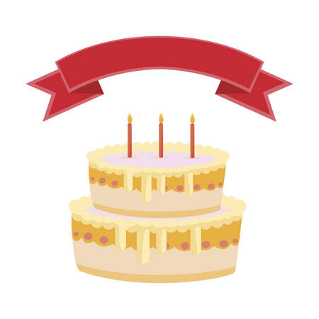 sweet cake birthday with ribbon frame vector illustration design Çizim