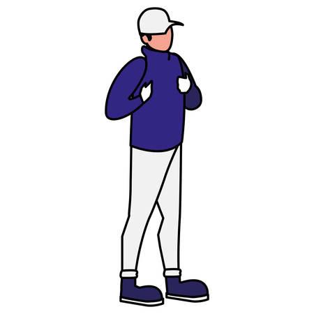 adventurous man with cap avatar character vector illustration design Vector Illustratie